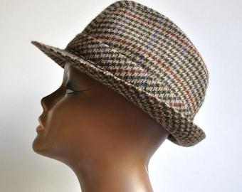 9e3b9f14ea9f3 Vintage 60s Era Houndstooth Fedora Hat