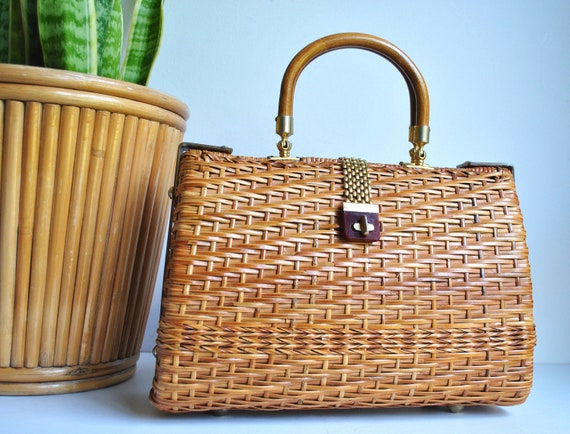 Vintage Woven Wicker Cane Top Handled Bag | 1940s-