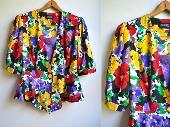 Gorgeous 1980s Floral Peplum Blouse by CASADEI | P
