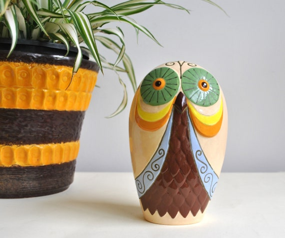 1980s Groovy Vintage Ceramic Owl Figurine | Handmade | Hand Painted | Home Decor | Ornament by Etsy