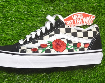 b97f07e5f63 Vans Custom Primary Checkered Old Skool Black White Red Rose Embroidered  Iron On Shoes Sneakers
