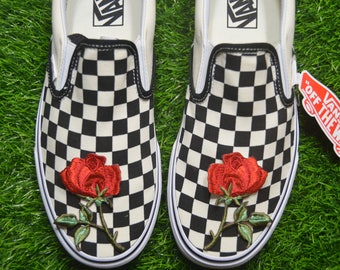 841f41556a44 Custom Vans checkered Checkerboard Slip-On Black Off White Check Rose  Floral Embroidered Iron On Shoes Sneakers