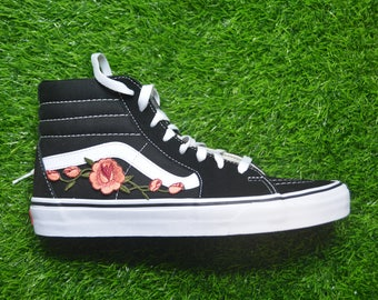 095784dd2e Kids Custom Vans Sk8-Hi Black White Rose Floral Embroidered Iron On Skate  Shoes Sneakers