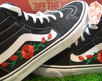 Custom Vans Sk8-Hi Black White Rose Floral Embroidered Iron On Skate Shoes  Sneakers 66352c176