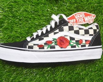 5b938d365689 Kids Custom Vans Primary Checkered Old Skool Black White Rose Floral  Embroidered Iron On Shoes Sneakers