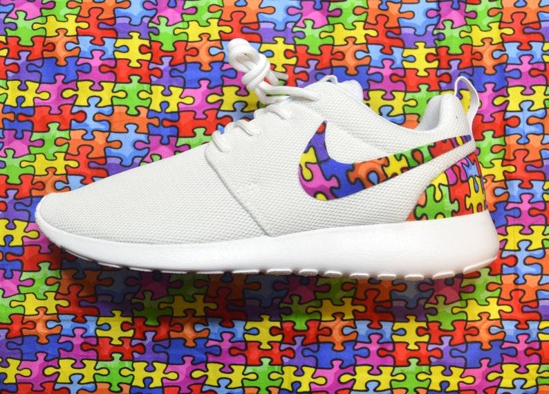 e403a17360d12 Autism Awareness Jigsaw Puzzle Custom Nike Roshe Run One Shoe | Etsy