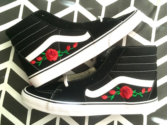 Iron Floral On Sneakers White Embroidered Skate Hi Shoes Rose Black Vans Sk8 Custom n18cwCqFAW