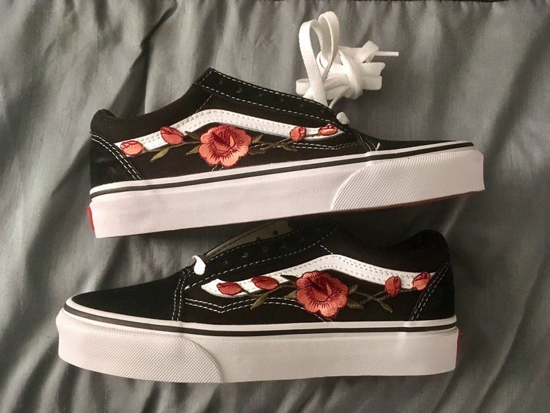 5ba99206f3 Kids Custom Vans Old Skool Black White Rose Floral Embroidered