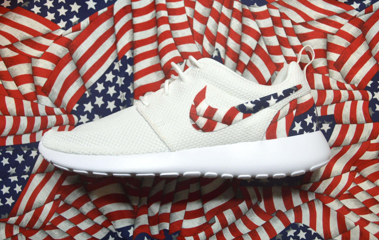 outlet store effb7 87f5a American Flag Custom Nike Roshe Run One Shoe Sneaker  Etsy