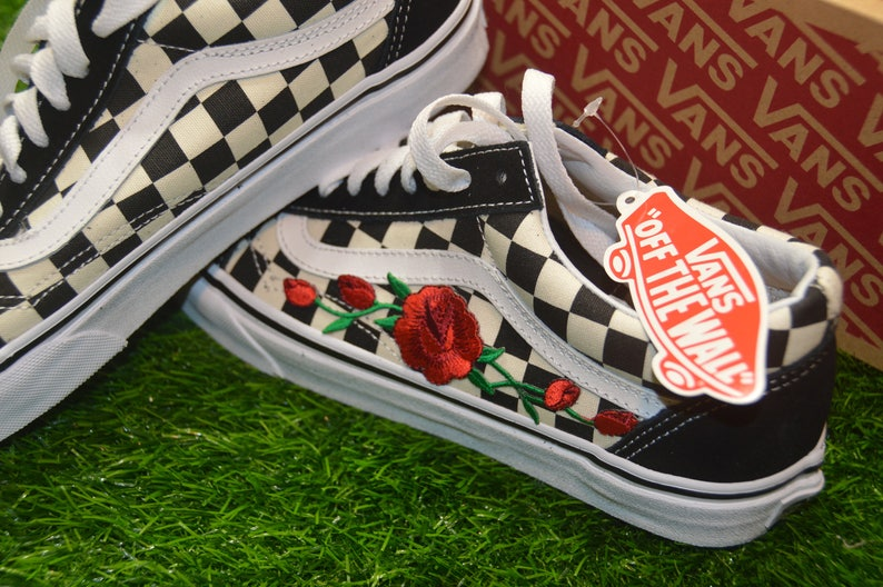ce9d04f7c4f8e Checkered primaria Custom Vans Old Skool Black White Rose