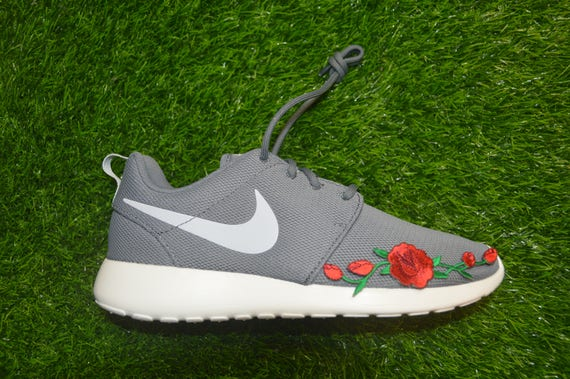 big sale 564d2 0fbdc low cost custom nike roshe run one rose embroidered iron on shoes etsy  4da05 c0bbc
