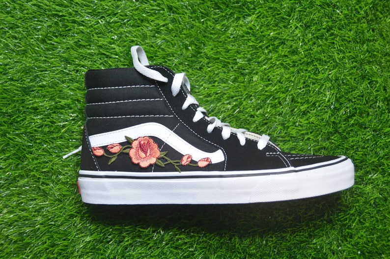 2164af348558 Kids Custom Vans Sk8-Hi Black White Rose Floral Embroidered