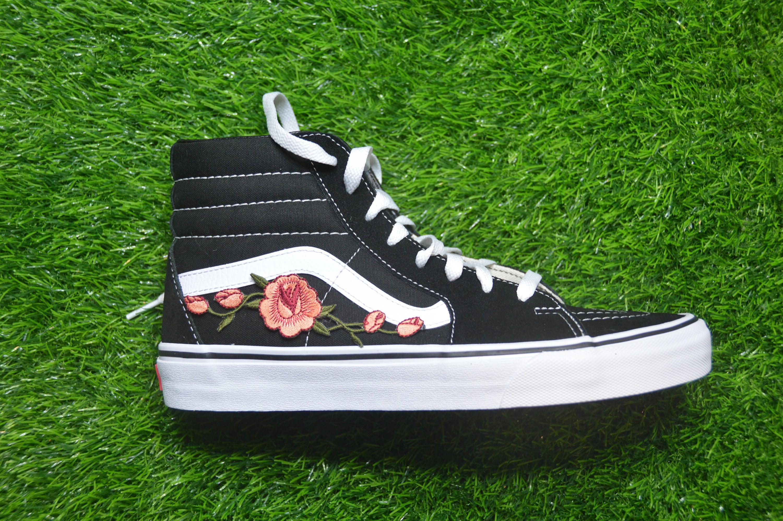 204243ed82fab Kids Custom Vans Sk8-Hi Black/White Rose Floral Embroidered Iron On Skate  Shoes Sneakers