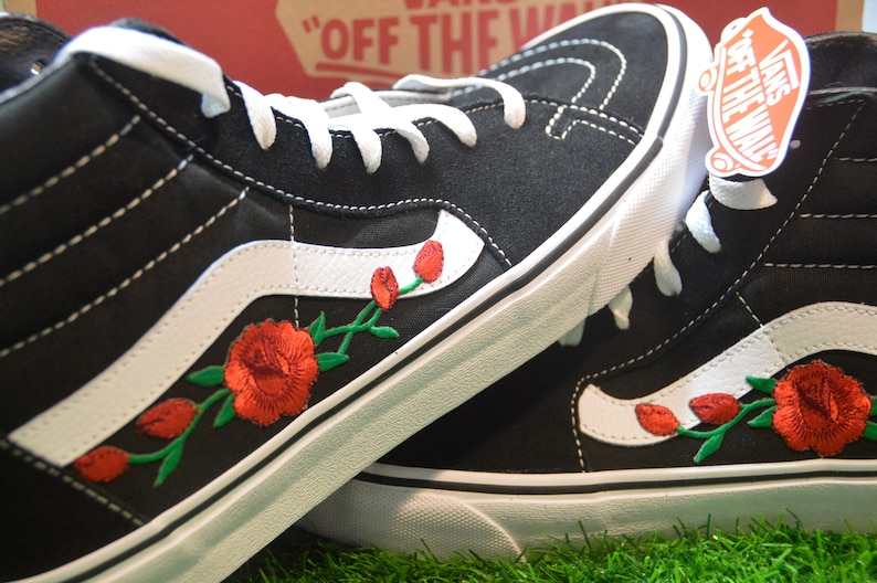 2833e9d75e0e Custom Vans Sk8-Hi Black White Rose Floral Embroidered Iron On