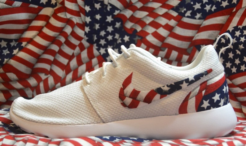 Drapeau américain personnalisé Nike Run Roshe une chaussure Sneaker