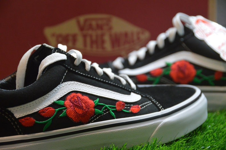 fd66445491 Vans Custom Old Skool Black White Red Rose Embroidered Iron On