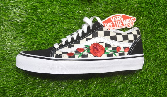 Kids Custom Vans Primary Checkered Old Skool BlackWhite Rose Floral Embroidered Iron On Shoes Sneakers