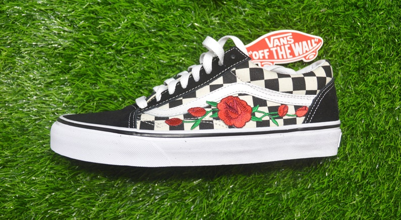 Vans Custom Primary Checkered Old Skool Black White Red Rose  96582949e
