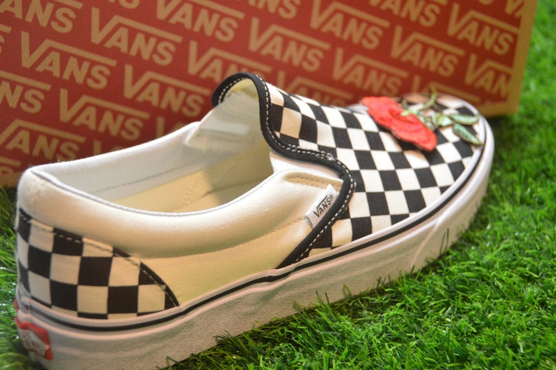 1f0dac95f0124 Kids Custom Vans Checkerboard Slip-On Black/Off White Check Rose Floral  Embroidered Iron On Shoes Sneakers