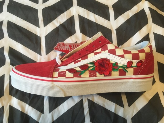 Vans Custom Primary Red Check Old Skool RedWhite Red Rose Embroidered Iron On Shoes Sneakers
