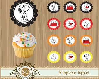12 Snoopy Cupcake Toppers Party Printables Instant Download