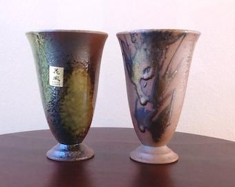 Vintage Vase Ceramic Vase Stoneware Glazed Vase Small Vase Flower Planter Pottery Vase Brown Green Vase Bronze Glaze Kafun Japan Pottery
