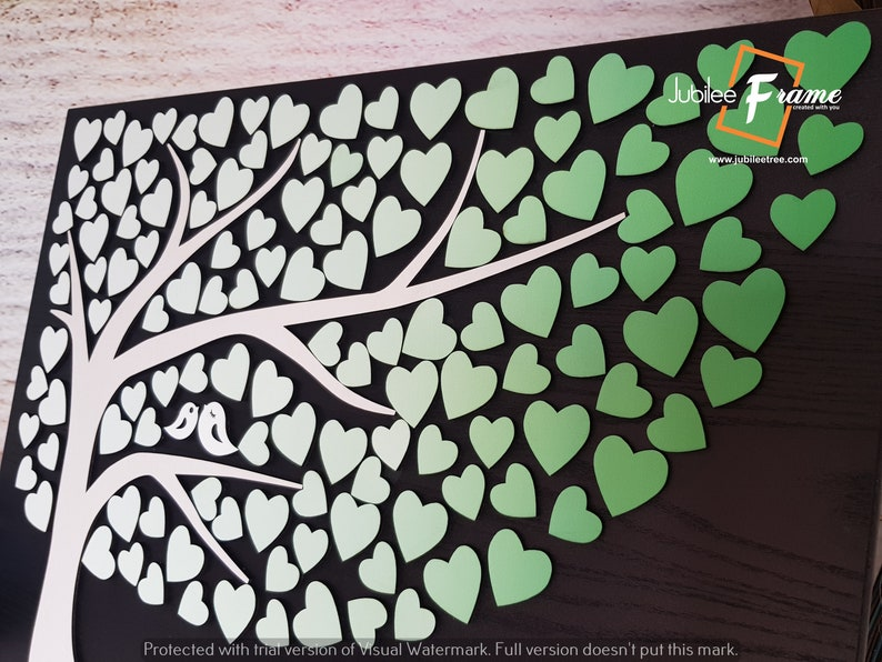 Tree with Green White leaves Wedding Tree guest book Alternative Guestbook wood hearts Rustic wedding Unique Custom Guest book sign in