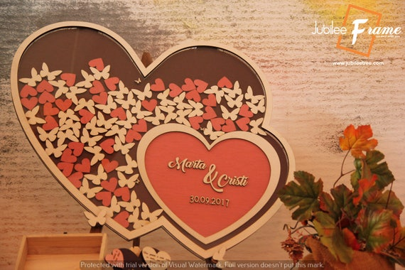 Drop Box Heart Frame Wedding Guestbook Alternative Personalized Guest Book Custom Sign In Wood Heart Dropbox Hearts Drop Top Customized