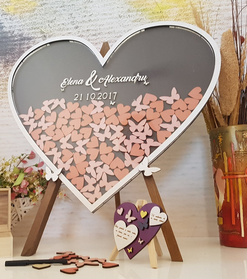 Wedding Heart Frame Drop Box Wedding Guestbook Alternative Personalized Guest Book Dropbox Sign In Wood Heart Drop Top Customized Gift