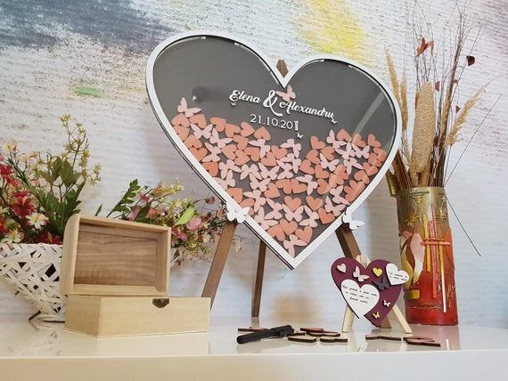 Please Sign Our Hearts Wedding Drop Top Guest Book Table Sign MMM Brown