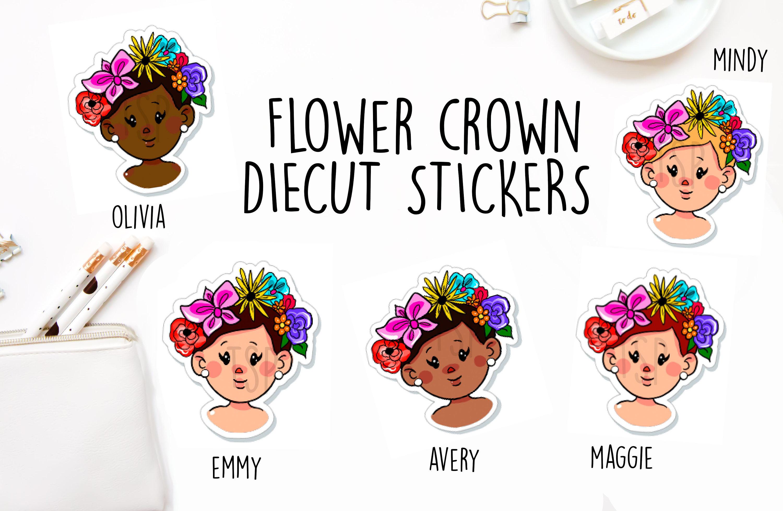 Flower crown diecut sticker spring summer cute kawaii etsy 50 izmirmasajfo
