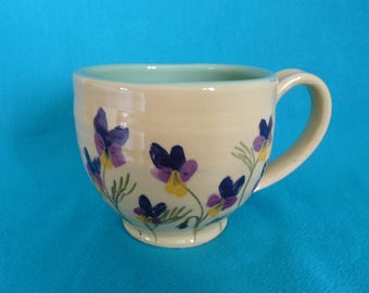 Viola tea cup. Pottery tea cup.  Garden lovers gift.