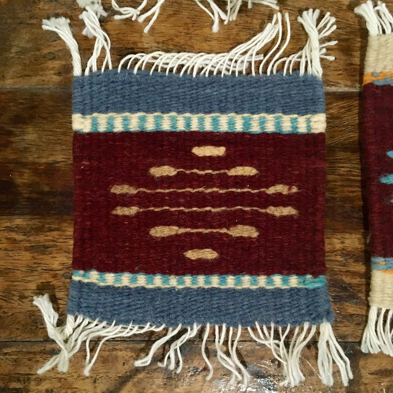 Zapotec Handwoven Wool Coasters from Oaxaca  Mixed Set of 6
