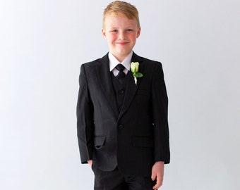 35319d2ba SUMMER SUIT SALE!! 4 Piece Boys Suit Black, ring bearer outfit, page boy  outfit, wedding boy suit, holy communion suit, formal boy suit