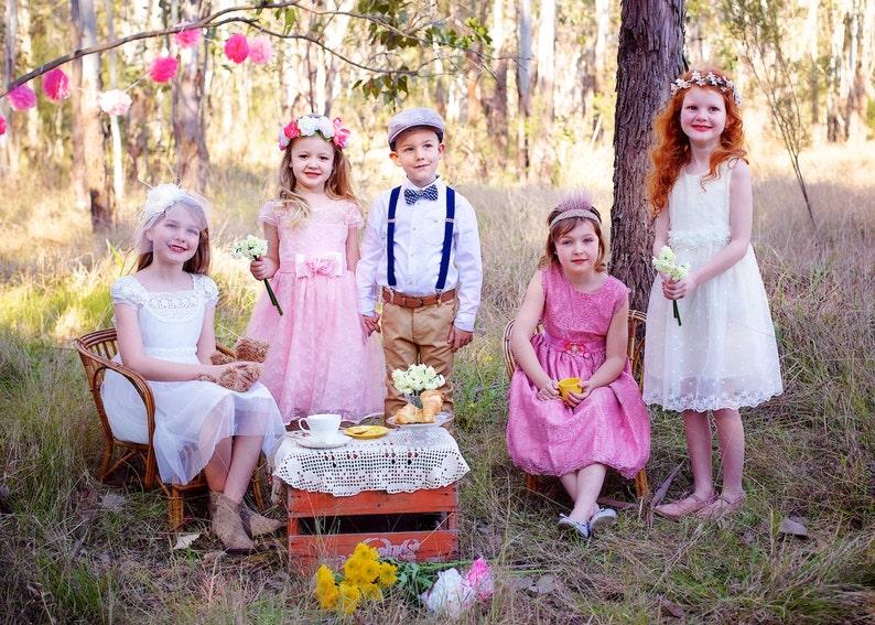 boho pattern vintage Flower Girl Dress Blushing Lace blush SALE SALE SALE! princess pink