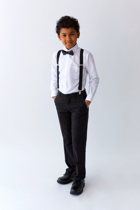 Boys Black Suit Pants Page Boy Out Wedding Boy Suit Ringer Etsy