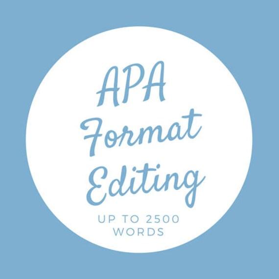 Edit/APA mise en forme correction, jusqu'à 2500 mots