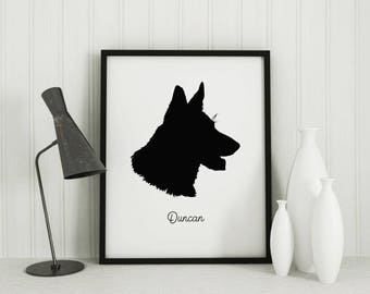 Custom Dog Silhouette Portrait | Gift for Her | Pet Portrait Gift | Custom Dog Art | Family Portrait Keepsake | Mothers Day Gift