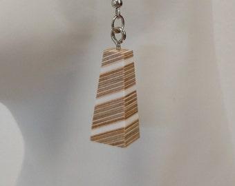 White Diagonal Ply Earrings