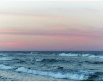 Pink Sunset, Nauset Beach, Cape Cod, Sunrise Beach, Ocean Print, Photo Print, Ocean Waves Art, Housewarming Gift, Beach Decor,  Pink Sky