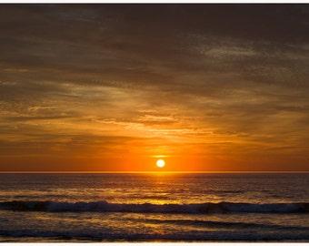 Sunrise Nauset Beach, Cape Cod  Photograph, Orange Sunrise, Ocean Art, Beach Decor, moody print, Summer Beach,  Seascape
