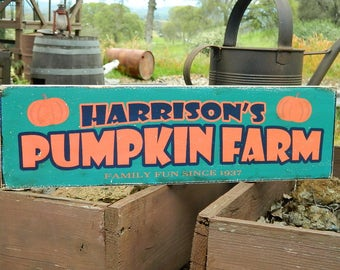 "Distressed Primitive Country Wood Sign - Your Name Pumpkin Farm Halloween sign  5.5"" x 19"""
