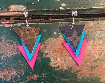Handmade Louis Vuitton triangle earrings/LV layered earrings/leather Louis Vuitton earrings/lightweight earrings/layered LV