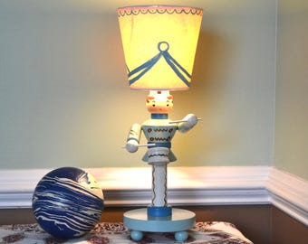 Irmi Drummer Boy Kid's Lamp   Vintage Painted Wood Child's Lamp   Boy's Nursery Lamp   Mid Century Kids Lamp   Mod Nursery   Drummer Lamp