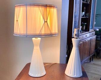 Pair of MCM Industrial MetalEnamel Lamps