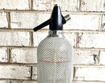 Vintage Czech Syphon Seltzer Bottle | Retro Bar Decor | Soda Syphon | Metal Mesh Seltzer Bottle | Mad Men Decor | Retro Barware |