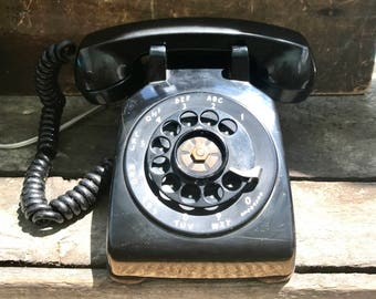 Vintage Black Rotary Phone | Western Electric Bell System Rotary Phone | Black Bakelite Rotary Phone| Art Decor Rotary Telephone| Movie Prop