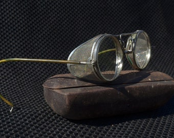 5cf525e6f 1920's American Optical Safety Glasses | Steampunk Eyewear With Case |  Vintage American Optical Glasses | Vintage Riding Glasses With Case