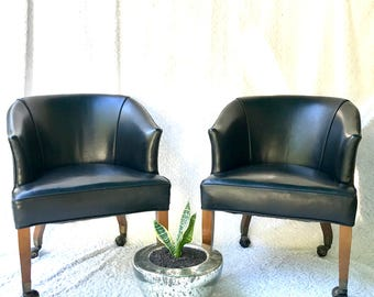 Attirant Vintage Black Rolling Club Chairs | Black Faux Leather Arm Chairs | Black  Barrel Back Chairs On Wheels| Mid Century Club Chairs| Brass Tacks