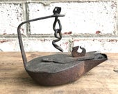 Antique Betty Lamp Rustic Whale Oil Lamp Primitive Lighting Antique Fat Lamp Iron Betty Lamp Wrought Iron Lighting Rustic Lamp